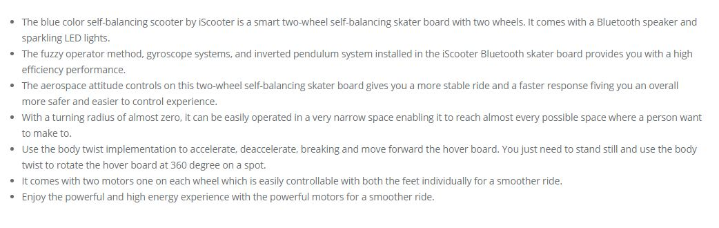 electric hoverboard self balancing scooter blue 7